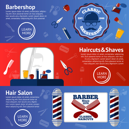 grease: Vector set of Barber banners with grooming accessories - comb, razor, scissor, grease, poles etc. Illustration
