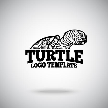 black silhouette: Vector Turtle logo template for sport teams, business etc. Illustration