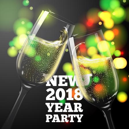 New Year Banner with transparent champagne glasses on bokeh background Ilustração