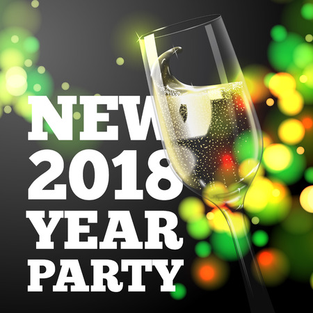Vector New Year Banner with transparent champagne glass on bright background with blurred xmas tree.