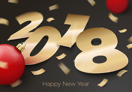 A Vector 3d realistic gold foil paper number 2018 laying on black surface, with red balls, confetti, shadows, perspective and blur. Stock Vector - 91036049