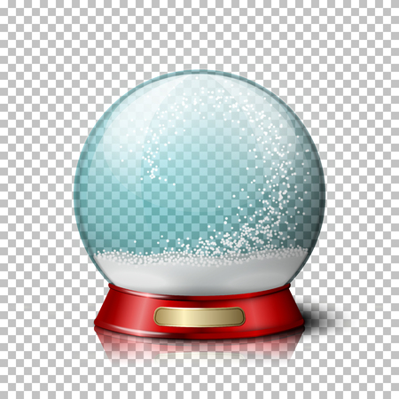 Vector realistic christmas snow globe, transparent with snowflakes inside. On plaid background. Illustration