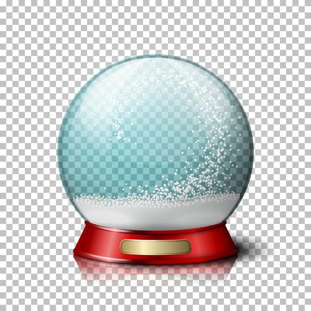Vector realistische kerst sneeuwbol, transparant met sneeuwvlokken binnen. Op geruite achtergrond.