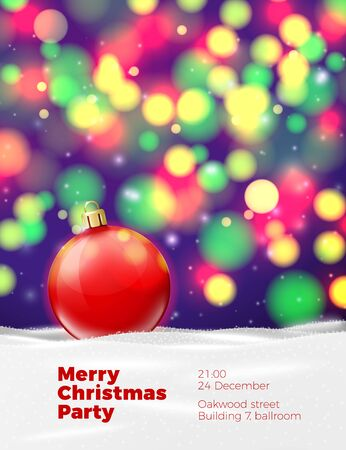 A Vector Christmas Poster Template With Red Ball On Background ...