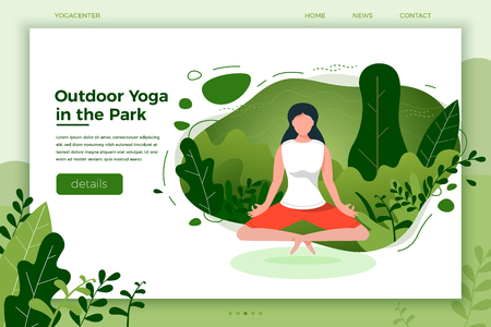 Vector illustration of girl in yoga lotus pose. Çizim