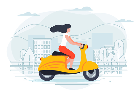Vector banner template with girl on a motorbike. City, trees and hills on a blue background. Illustration