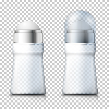 Vector 3d realistic set of transparent deodorant bottles with plastic cap, open and closed on plaid background. Mock-up for product package branding.