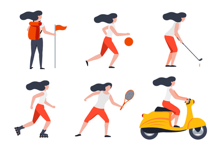 Vector set of girls in different summer activities - hike, tennis, basketball, roller skate, motorbike, golf. Vectores