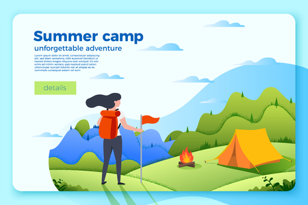 Vector bright camping banner template with tourist girl looking on bonfire near the tent, on bright summer background with mountains and forests. With place for your text.