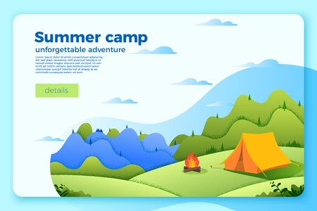 Vector bright camping banner template with bonfire near the tent, on bright summer background with mountains and forests. With place for your text. 向量圖像