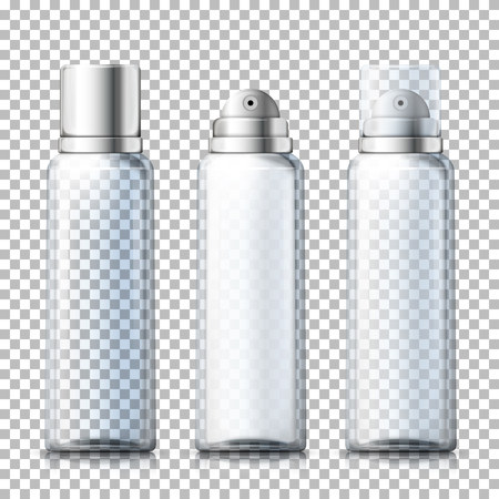 Vector set - 3d realistic foam bottles with silver and plastic caps on plaid background. Mock-up for product package branding.