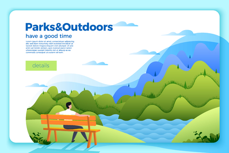 Vector bright banner template with man on a bench on the river bank, on bright summer background with mountains and forests. With place for your text.