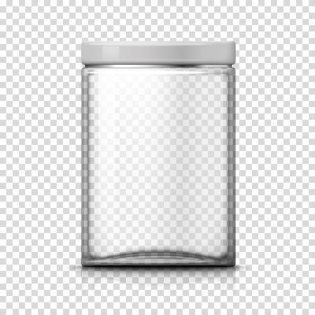 Vector 3d realistic big transparent glass jar on plaid background. Mock-up for product package branding. Ilustración de vector