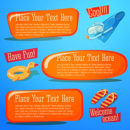 Set of cute bright summer icons with typographic elements. Diving equipment, rubber duck, slippers.