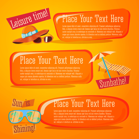Set of cute bright summer icons with typographic elements. Summer hat with sunglasses, chase lounge.