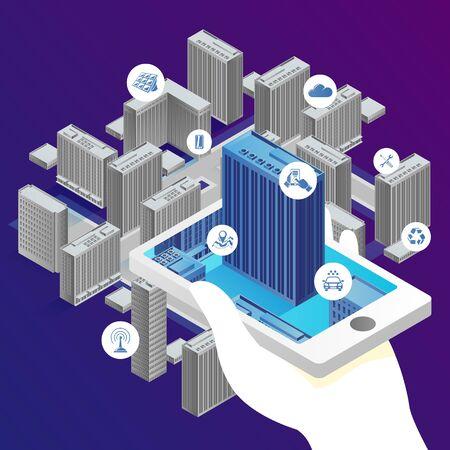 Ilustración del concepto de vector - aplicación de teléfono para construcción inteligente, con internet de las cosas. Plantilla de banner brillante moderno con lugar para el texto.