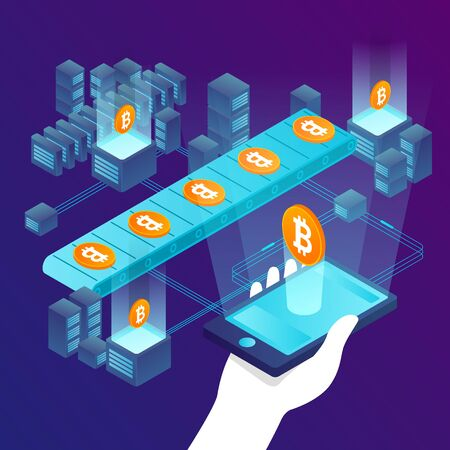 Vector concept illustration - cryptocurrency mining process, transporter with bitcoins. Modern bright banner template with place for your text.