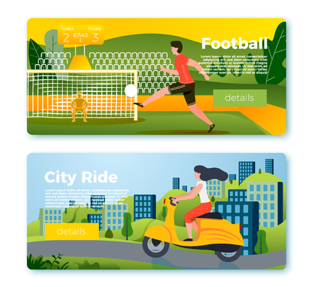 Vector set of bright banner templates with football man and girl on motorbike. City, forest, river and mountains on soft background. With place for your text. Stock Illustratie