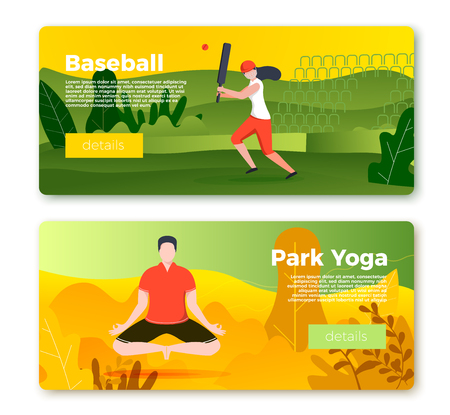 Vector set of bright banner templates with cricket player girl and yoga man in park. City, forest, river and mountains on soft background. With place for your text. Stock Illustratie