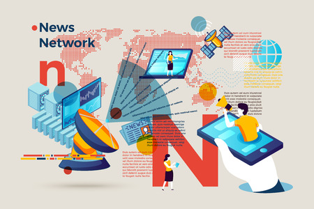 Vector concept illustration -  alphabet letter N with online news network. Modern bright banner template with charts and place for your text.  イラスト・ベクター素材