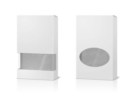 Vector realistic 3d tall paper boxes, blank and with transparent windows isolated on white background. Mock-up for product package branding. Vector Illustration