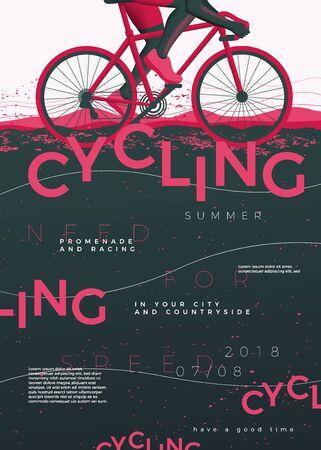Plantilla de cartel de ciclismo tipográfico de vector, con bicicleta, texturas grunge y lugar para tus textos.