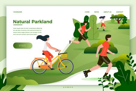 Vector illustration - bicycle riding, running, rolling people in park and trees on background. Banner, site, poster template with place for your text.