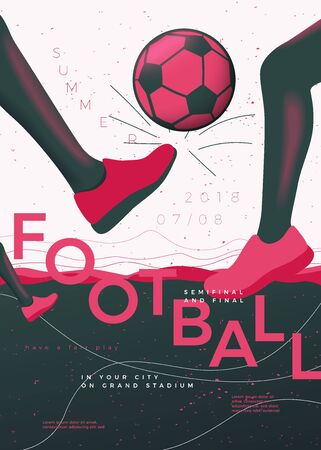 Vector typographic football poster template, with legs and ball, grunge textures, and place for your texts. Reklamní fotografie - 133544594