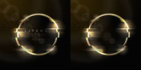 Vector glitched abstract background with golden ring, distorted tv noise. Set with text and empty. Ilustração