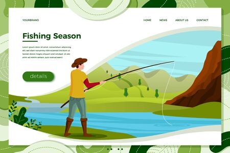 Vector illustration - fisherman on river with rod. Forests, trees, mountains and hills on green background. Banner, site, poster template with place for your text.