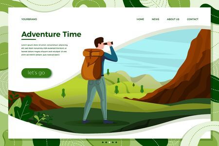Vector illustration - travel man with binoculars looking on mountains, meadows, trees on background. Banner, site, poster template with place for your text. Illustration