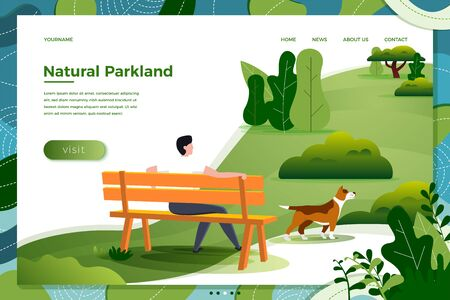 Vector illustration - man on bench with dog in park, trees on background. Banner, site, poster template with place for your text. Фото со стока - 129642364