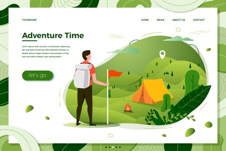 Vector illustration -  tourist man looking on camping place with bonfire. Forests, trees and hills on green background. Banner, site, poster template with place for your text.