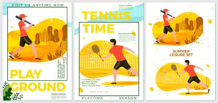 Vector summer sport posters set - cricket and tennis players. Forests, trees and hills on background. Print template with place for your text.