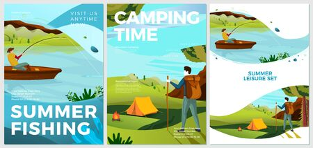 Vector summer typographic posters set - hiking and fishing people. Forests, trees and hills on background. Print template with place for your text.