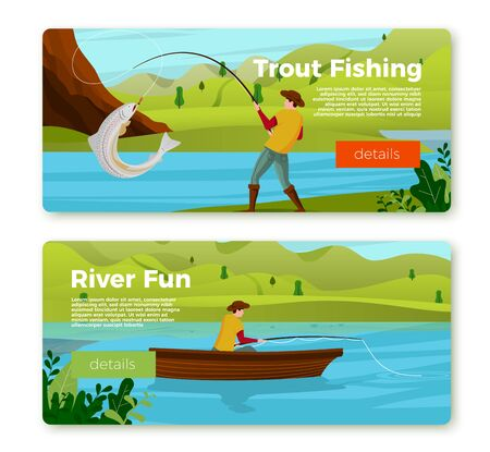Vector banners set - fisherman on river boat and with trout. Forests, trees, mountains and hills on green background. Template with place for your text.