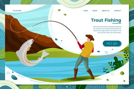Vector illustration - fisherman on river catching trout. Forests, trees, mountains and hills on green background. Banner, site, poster template with place for your text.