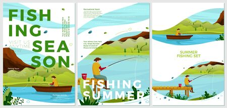 Vector summer posters set - river fishing activities. Forests, trees and hills on background. Print template with place for your text.