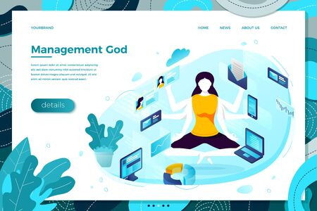 Vector illustration -  multitasking manager girl with six hands. Modern bright banner, site template with place for your text. Illusztráció