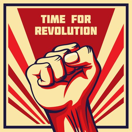 Vintage style revolution poster. Raised fist of the striking man, worker etc.