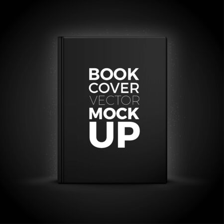 Vector 3d realistic hard cover book isolated on black background. Luxury mock-up for product package branding. Ilustração