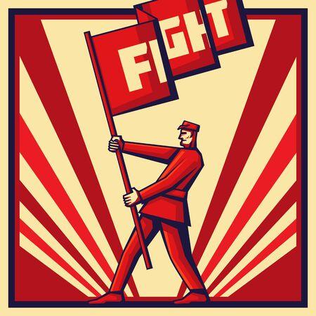 vintage rewolucja plakat, z mężczyzną trzymającym sztandar propagandy.