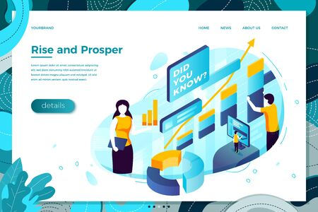 online girl asking Did You Know and rise and prosper charts. Modern bright banner, site template with place for your text.
