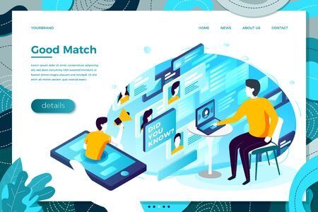 online dating app, man searching for match. Modern bright banner, site template with place for your text.