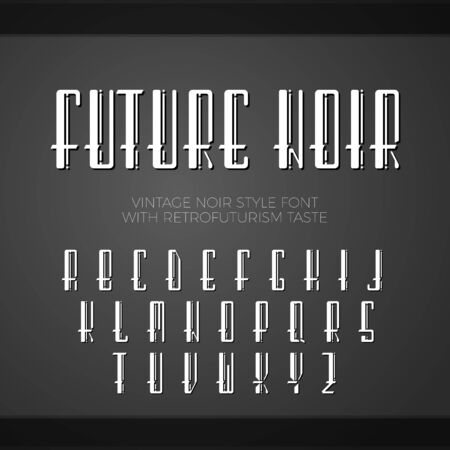 Vector font. Vintage noir style font, with taste of retrofuturism. Long letters with shadows. Illustration