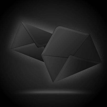 Vector 3d realistic luxury black envelopes, isolated on dark background. Mock-up for product package branding.