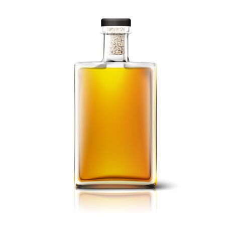 Blank realistic square whiskey bottle isolated on white background with reflection. Place for your design and branding. Vector 일러스트