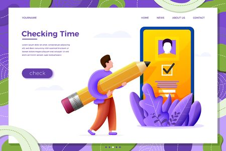 Vector illustration mobile app check concept - cartoon boy with pencil and smartphone, isolated on white background. Banner, site, poster template with place for your text.