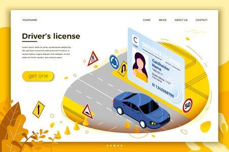 Vektorkonzeptillustration - Führerschein, Autofahren auf einer Straße mit Schildern und Kegeln. Modernes helles Banner, Site-Vorlage mit Platz für Ihren Text. Vektorgrafik