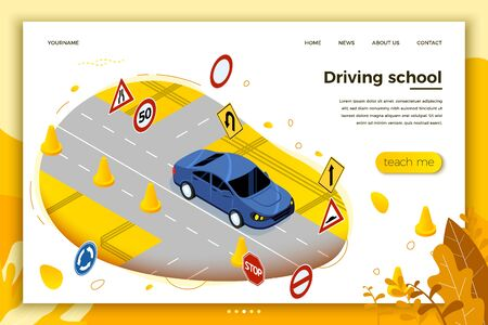 Vector concept illustration - Driving school, car riding on a road with signs and cones. Modern bright banner, site template with place for your text.